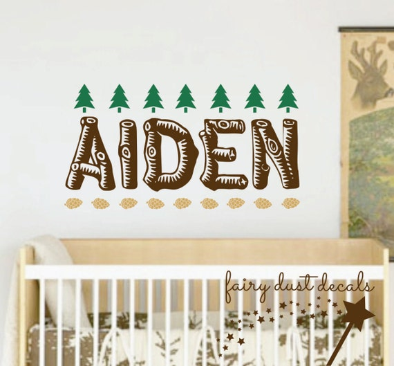 Name wall decal vinyl boy name nursery wall decal woodland nursery
