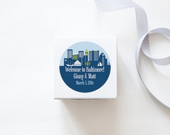 Baltimore, MD Custom Wedding Welcome Stickers  -  SKYLINE DESIGN