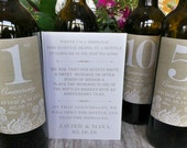 Guest Book Anniversary Wine Label set,  4-6 Labels and Instructional sheet.....Faux Burlap