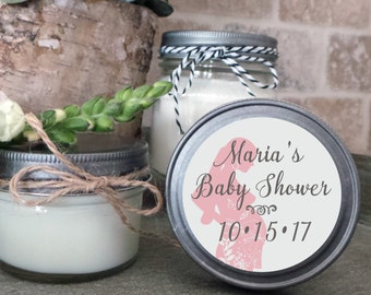 Soy Candle Wedding Favors - Set of 12  - 4 or 8 oz  - Baby Favor Candles- Personalized Baby Favors/Shower Favors