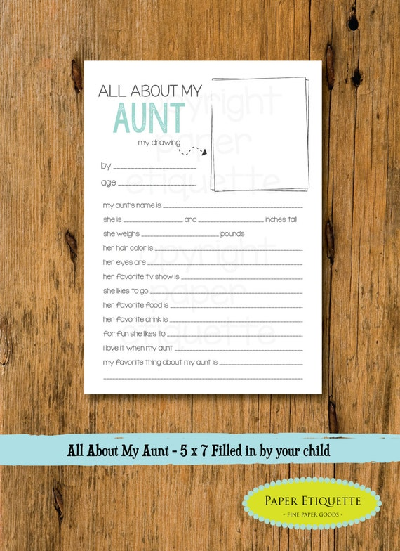 All About My Aunt Aunt Mother's Day Gift 5 X 7 Fill In