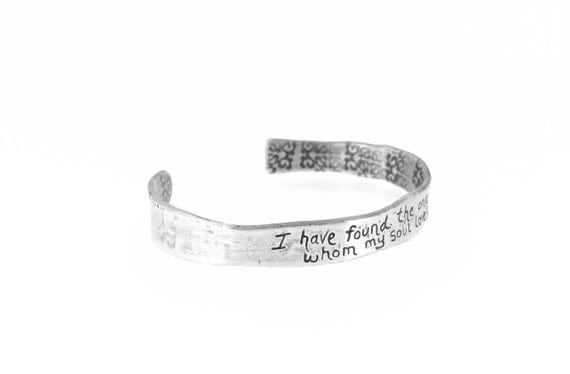 sterling silver cuff . song of solomon the one whom my soul loves quote cuff jewelry . valentine romantic gift for her ready to ship