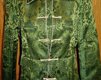 Asian Brocade Coat, Formal Asian Coat, Green Asian Coat, Lightweight Coat, size M
