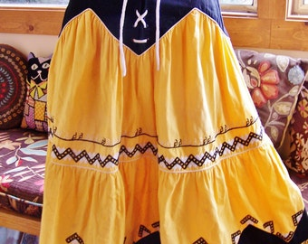 French SKIRT, Embroidered skirt, Tiered Cotton skirt, Yellow folk skirt, size XS
