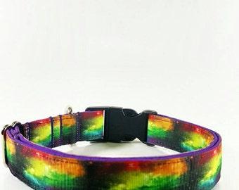 Vivid Collars Large 1inch Galaxy print ribbon dog collar