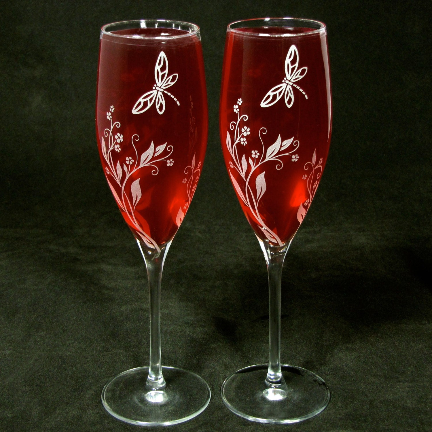 Engraved Wedding Champagne Flutes Vine and Dragonfly