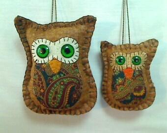 Small & X-Small Brown Owl Ornaments | Holidays | Tree Ornaments | Fall Decor | Felt Owls | Folk Art | Thanksgiving | Handmade | Set/2 | #2