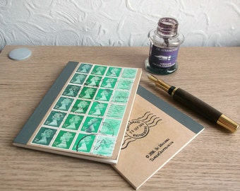 Bottle Green, Recycled Pocket Notebook - lined kraft journal, retro British Machin postage stamps - stamp collector gift, for writer, penpal