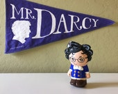 Mr. Darcy varsity vintage style pennant banner 8 by 15 wall art decor indigo and white white Pride and Prejudice Jane Austen