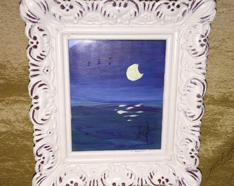 Blue Ocean Abstract,  Miniature Original Acrylic Painting in Frame
