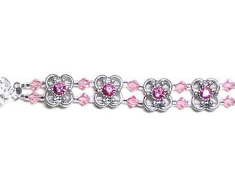 Pink antiqued bracelet, Swarovski crystal, pink bracelet, rose bracelet, prom bracelet, two strand, multi strand, silver plated clasp