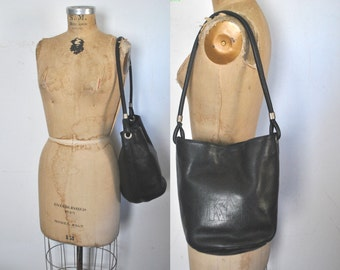DKNY Leather Bucket Bag / black leather purse satchel
