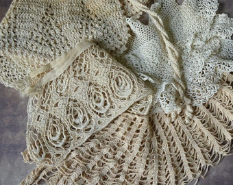 5 Antique Lace Collars Tatted Crocheted Ruffled Trim Pieces Lot