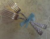 Sterling Silver Dinner Forks, Set of 2 - Towle, Arlington - Bride and Groom Forks - Wedding, Shower, Engagement Gift