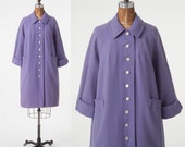 Vintage 1950s Lavender Wool Coat, 50s Purple Wool Coat with MOP Buttons, Women's Clothing, Jackets & Coats