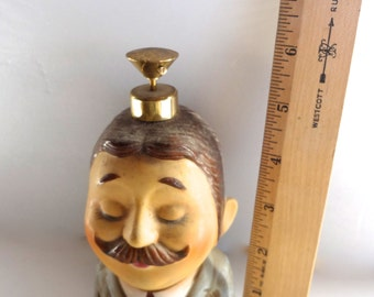 Vintage I W Rice Perfume Atomizer Man Head  6.5 inches Tall X 3 & 3/8 Inches Wide Atomizer Not Fully Functional
