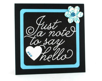 Hello, Thinking of you, Just a note, aqua, card for her, friendship cards