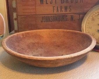 Antique Wooden Bowl ~ Primitive ~ Dough Bowl ~ Turned Wood ~ Rustic Farmhouse