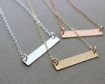 Skinny Bar Textured Necklace - 925 sterling silver, 14k Gold fill or 14k Rose Gold Filled chain and bar - sideways bar necklace - modern