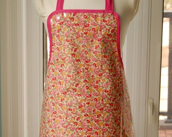 Liberty Pink Vinyl Apron -  wipe clean and waterproof apron - fabric with clear vinyl covering
