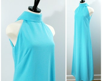 Vintage Maxi Dress, 1960s Turquoise Blue Floor Length Sleeveless Polyester Dress Size M