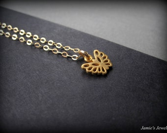 Tiny Gold Butterfly Necklace -Gold Butterfly Necklace - Butterfly Jewelry - Nature Inspired Necklace - Simple Gold Necklace - MInimal Gold