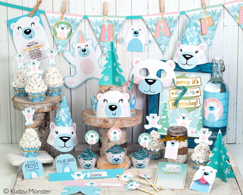 polar bear party printable decor kit arctic frozen party cute