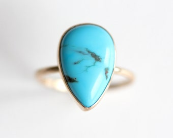 Turquoise Ring in Recycled 14k Gold - Turquoise and Gold Ring - Stacking Ring - Modern Turquoise Ring - Pear Gemstone