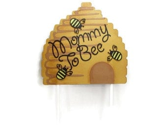 Mommy To Bee Cake Topper - Mama To Bee - What Will It Bee - Baby Shower Cake Topper - Bee Skep Decoration