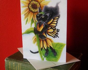 Black Cat Sunflower Fairy Fantasy Art 5x7 Blank Greeting Card