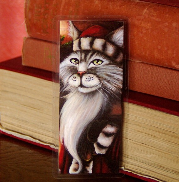 Santa Claus Cat Christmas Art Bookmark