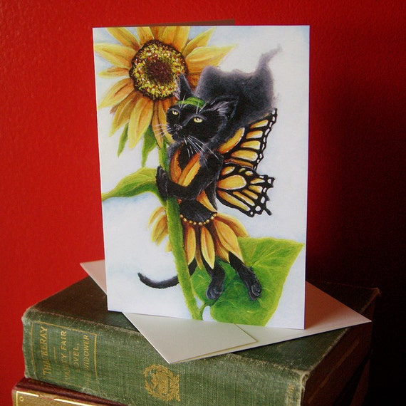 Black Cat Sunflower Fairy Fantasy Art 5x7 Blank Greeting Card