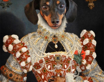 Dachshund Art Wiener Dog Queen Royalty Dog Artwork Pet Portrait Print Animal Photography Print - Queen Dixie