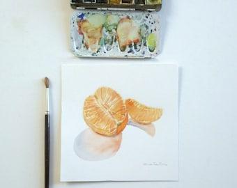 mandarin original watercolor painting still life