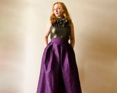 Purple Maxi Full Skirt Silk Shantung High Waist Long Evening Skirt with Pockets, Prom Cocktail Skirt, Customize color and length, Plus sizes