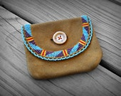 Vintage Leather Pouch - Native American