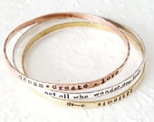 Power Positive Mantra Bangles - Stacking Bangles - Personalized Name Jewelry - Inspirational Quotes Words - Names Mantras - Rustic Boho