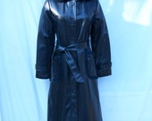 70s Black Faux Leather Trench Coat size Small Fur Lined Coat