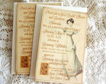 Vintage Elegant Bridal Shower Invitation Handmade by avintageobsession