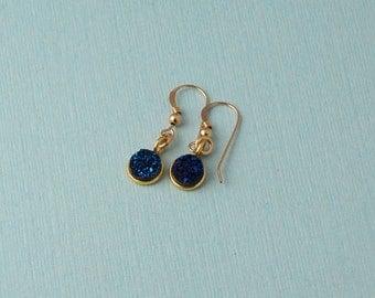 Blue Druzy Drop Earrings / round blue druzy earrings / dangle earrings / Gold druzy earrings
