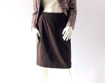"Vintage ESCADA Chocolate Brown Velvet Skirt - Classic A Line - size 38 US 6 8 - 14"" Waist - Wear to Work - Cotton Velvet - Made in Germany"