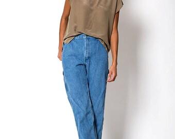 The Vintage Tan Silk Cap Sleeved Blouse Shirt