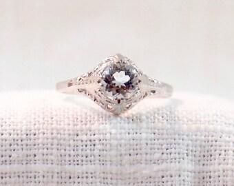 Art Deco 14k Gold and Aquamarine Ring One Carat