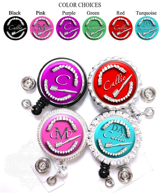 Dental Assistant Badge Reel - Personalized Teeth and Toothbrush Retractable Lanyard ID Holder with Name, Monogram, Occupation Title (A074)
