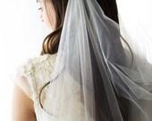 Bridal draped veil, in Ivory extra fine tulle Jeweled headdress lil bling silver rhinestone swags - IGNACIA