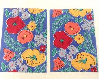 Vintage Pillowcases Large Tropical Flowers Blue Orange Pair