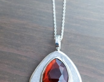 Fine Jewelry, Garnet Necklace, Large Red Rose-cut Hessonite Garnet, January Birthstone, Garnet Jewelry, Free Shipping