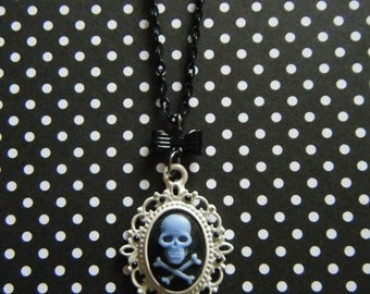 Blue skull and crossbones on black rhinestone embellished gothic lolita skull cameo necklace