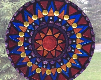 Vibrant Sun, stained glass mosaic suncatcher
