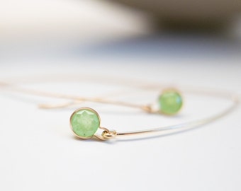 Green Garnet Earrings Solid Gold Earrings Fine Jewelry Green Pear Mali Garnet Simple Sophisticated Drop Dangle Earring Gift for Her Wife